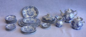 Group Of 23 Pieces Of Early Blue And White Transferware