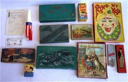 Grouping of mostly pencil boxes, pencils and school