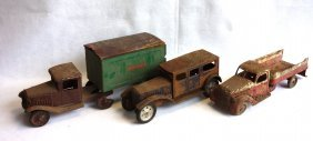 Three Large Pressed Steel Vehicles Including 1930's