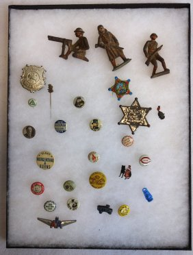Grouping Of Collectible Pin Backs, 3 Hand Painted Lead