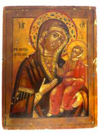 Painted Russian icon on wooden board - Madonna & Child