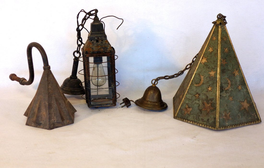 Three lighting fixtures including octagonal shaped