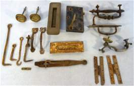 Grouping of assorted hardware including door latch