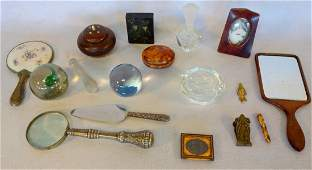 Collection of decorative items including 2 glass