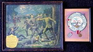 Two military framed objects including WWI