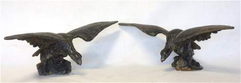 Pair  cast iron pilot house eagles 19th century  wing