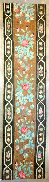 Large Floral Hooked Rug Runner With Floral Border - 11'