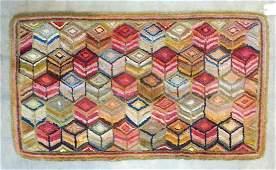 "Colorful geometric tumbling blocks hooked rug - 4' 7"""