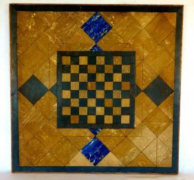 Unusual Linoleum Game Board, Decorated With Marbleized