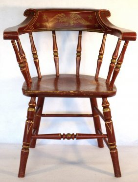 Patriotic Firehouse Windsor Style Arm Chair With Eagle