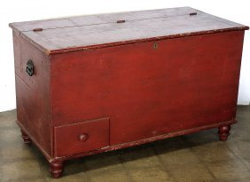 Early Grain Or Tack Box In Red Paint, Having 2 Interior