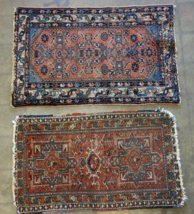 Two Oriental Scatter Rugs, Both With Use Wear And Some