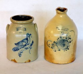 Two Fort Edward Ny Stoneware Including Crock With Bird