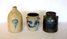 Three Stoneware Pieces Including 2 Gallon Jug With Blue