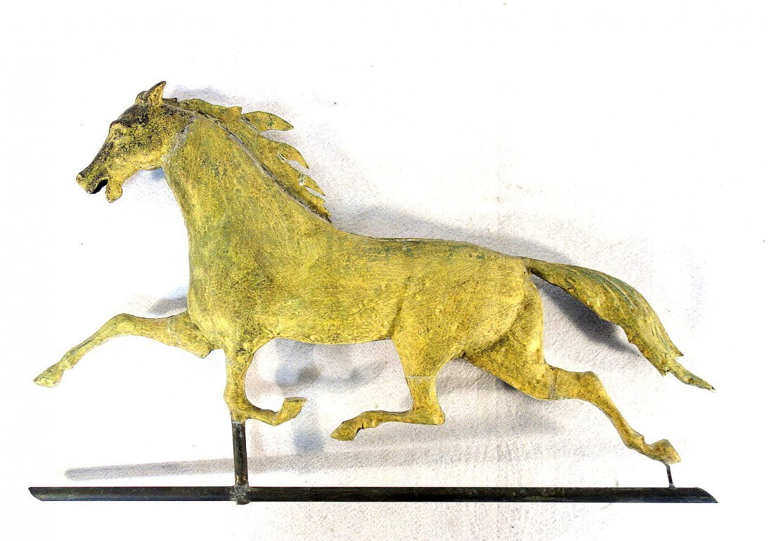 Running horse copper full body weathervane with tin