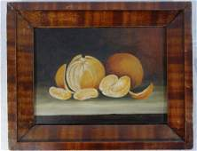 O/B Still life of oranges on table. Appears to retain