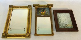 Three Early Sheraton Mirror Including Gold Leaf With
