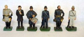 Six Cast Iron Door Stops Of Civil War Era Figures