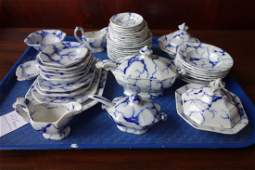 Set of blue and white sponge decorated doll's ironstone