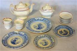 Grouping of 25 pieces of early china including 4 blue