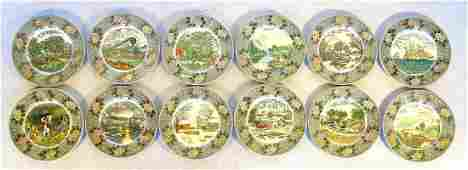 Collection of 12 dinner plates with Currier  Ives