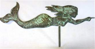Mermaid flattened body copper weathervane with