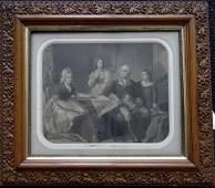 Large folio engraving of George Washington and family