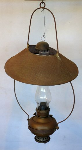 Country Store Hanging Oil Light With Tin Shade And