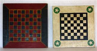 Two game boards including one in black, white and green
