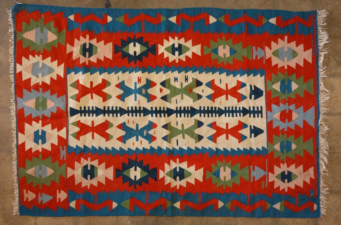 """Kilim scatter rug 69"""" x 47"""". Good condition. Mid 20th"""