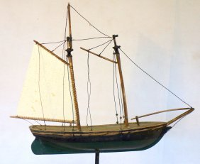 Old Wooden Hand Carved Sailing Ship Weathervane In Old