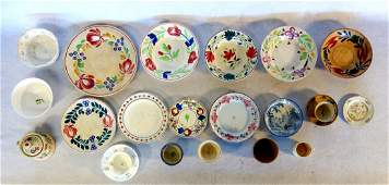 Grouping of 22 pieces of early mostly hand decorated