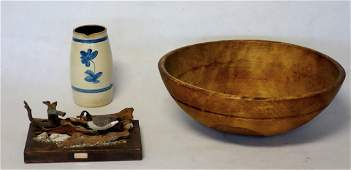 Three country items including large treenware deep bowl