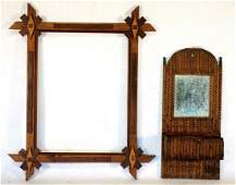 Two country items including a tramp art wall box with