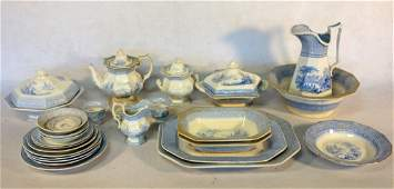 Grouping of 24 pieces of blue and white Staffordshire