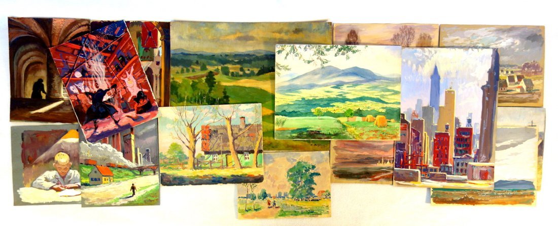 Grouping of 14 mostly impressionist landscapes by a