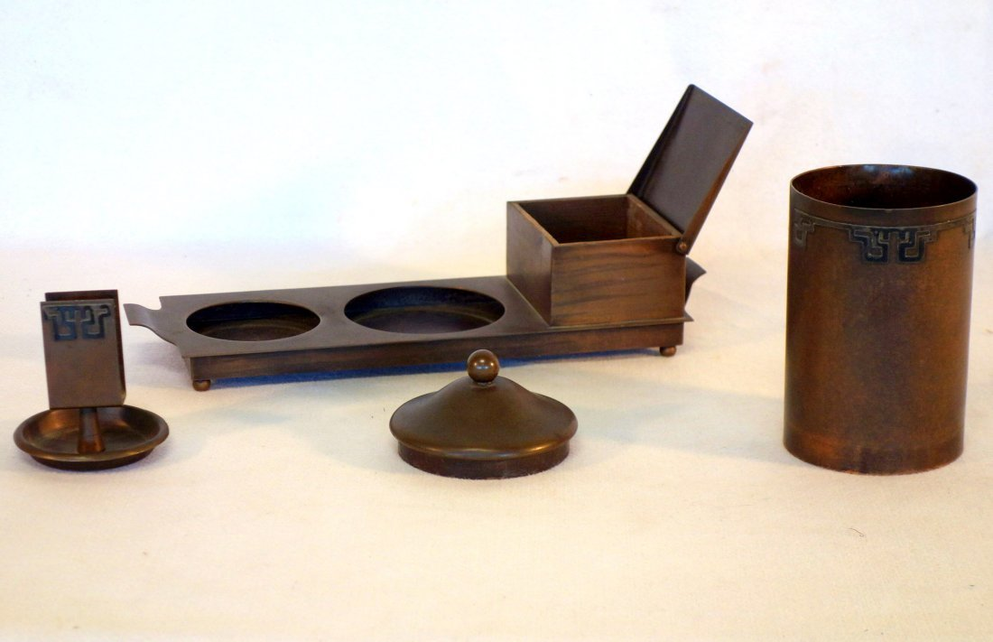 Sterling over Bronze, Heinz smoking set consisting of a - 2