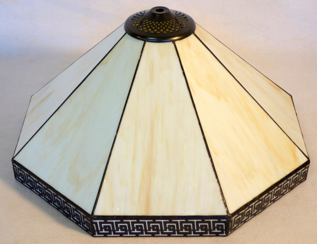 Signed Bradley & Hubbard cast iron table lamp with faux - 4