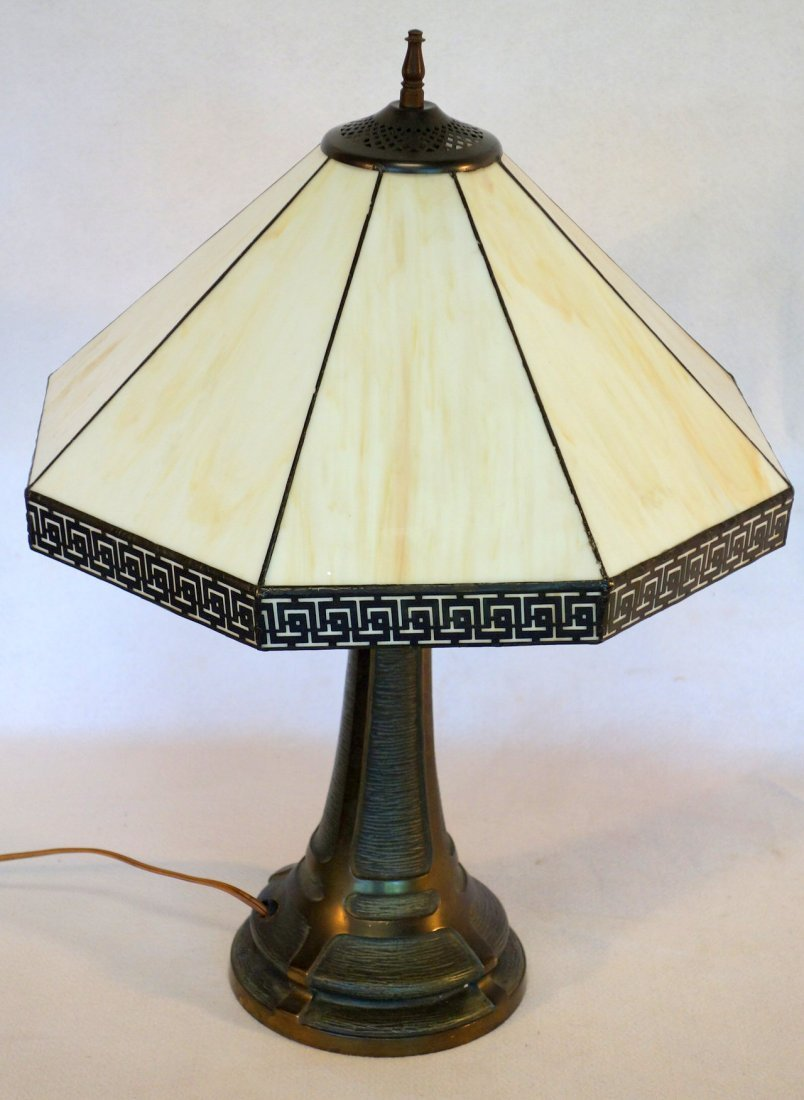 Signed Bradley & Hubbard cast iron table lamp with faux - 5