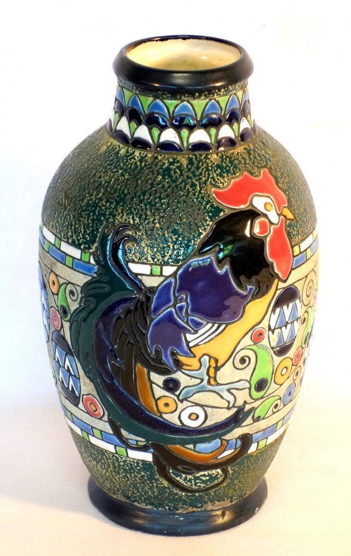Amphora vase decorated with a large rooster, stylized