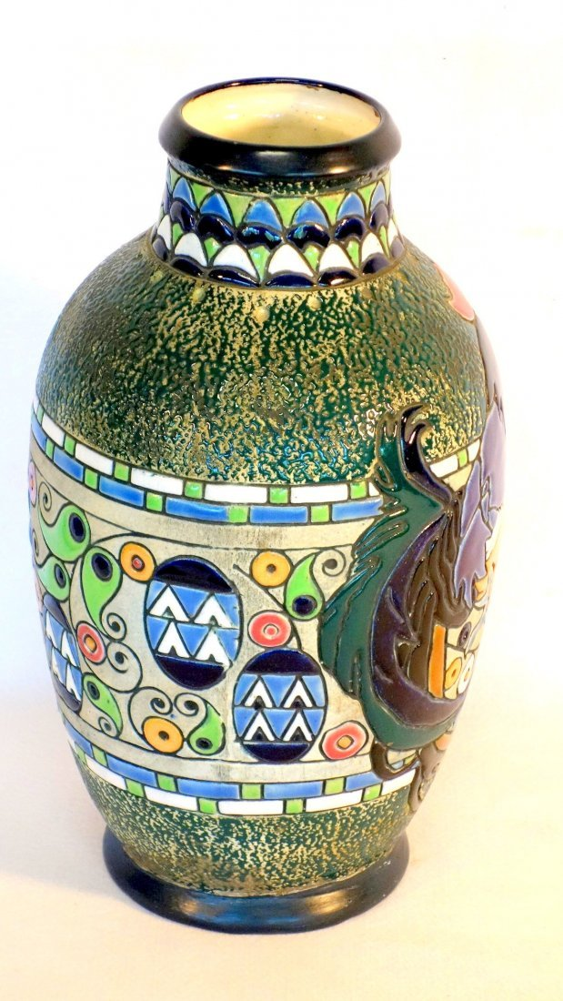 Amphora vase decorated with a large rooster, stylized - 4