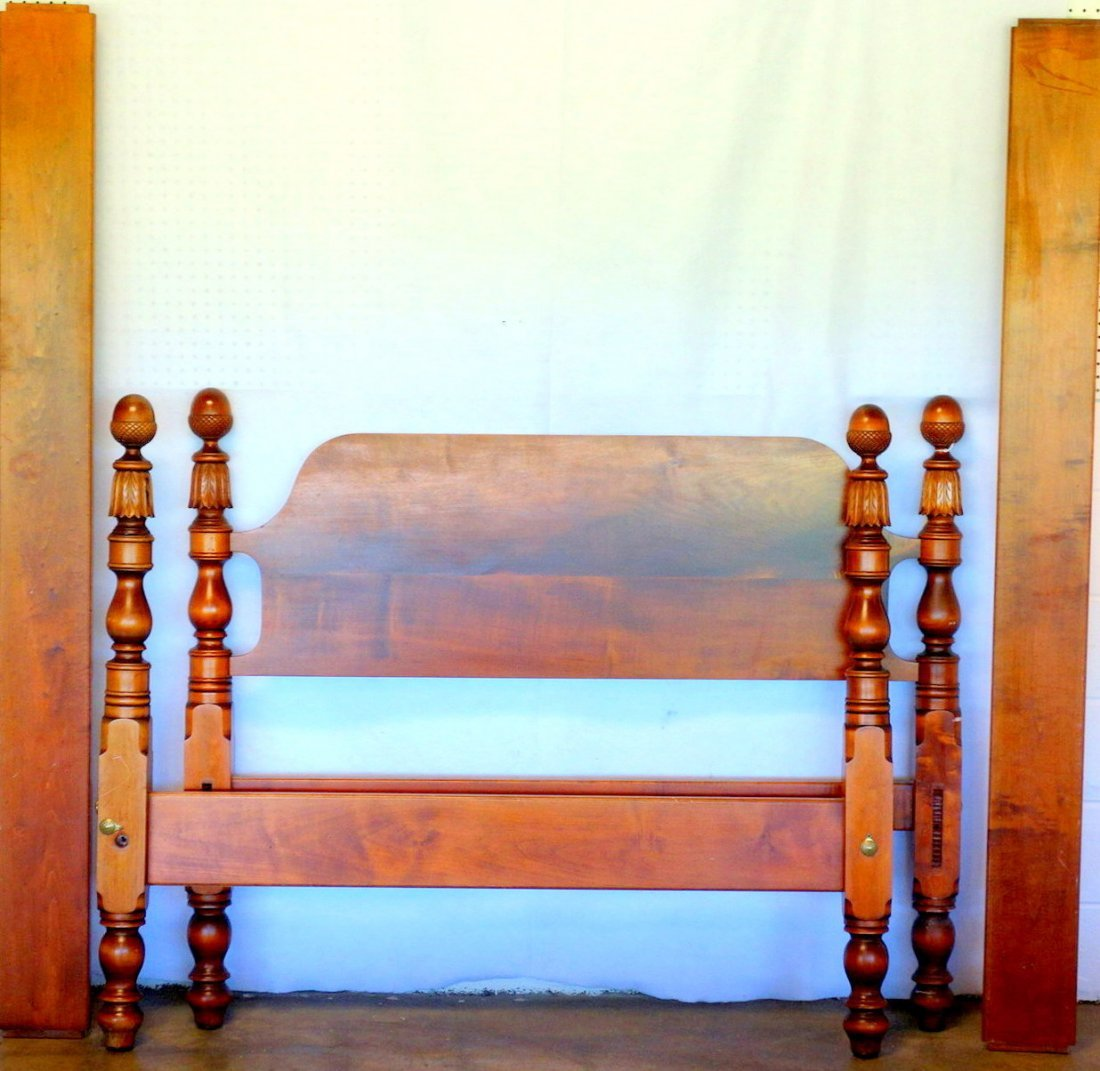 Early maple low 4 poster bed with acanthus carved posts