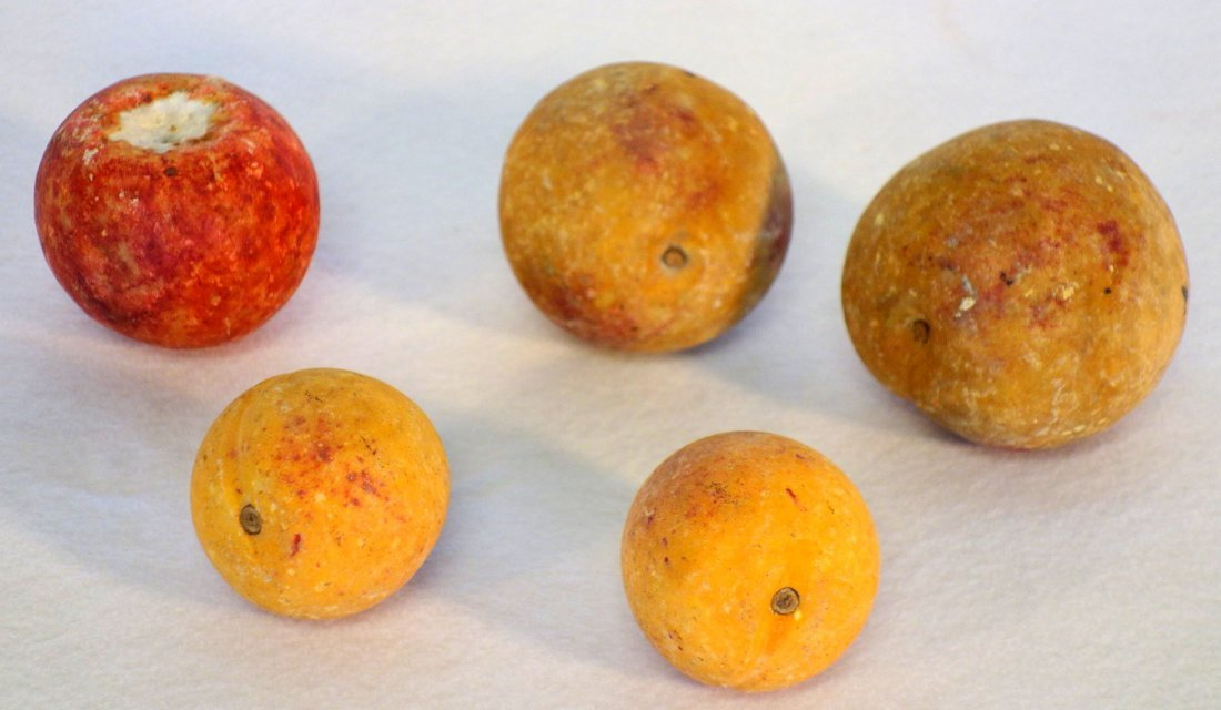 Grouping of 5 pieces of hand painted stone fruit - note