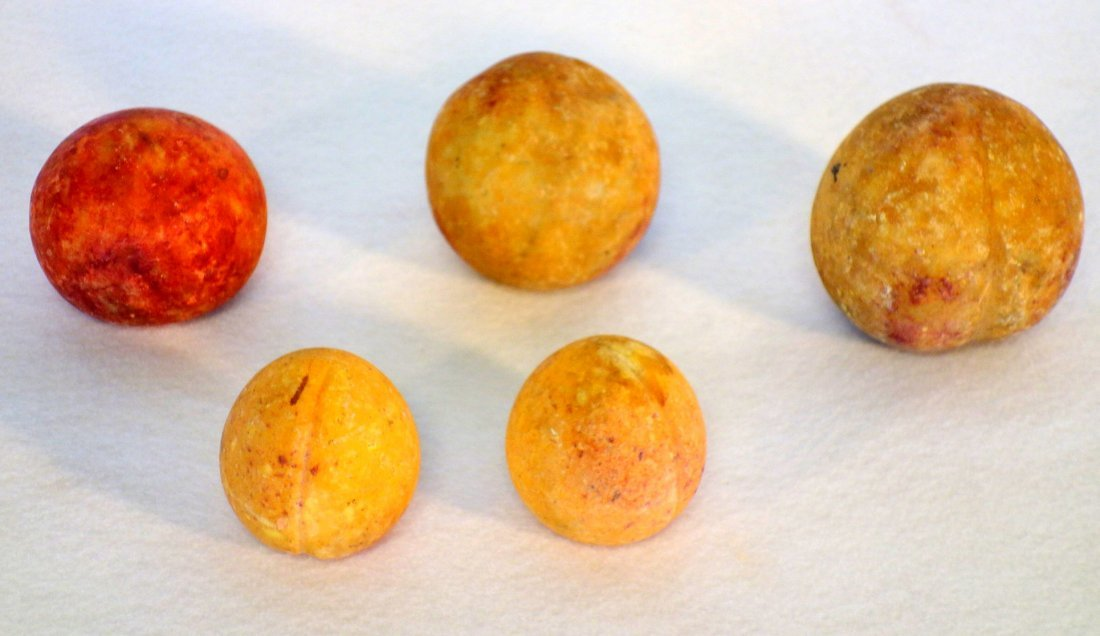 Grouping of 5 pieces of hand painted stone fruit - note - 2