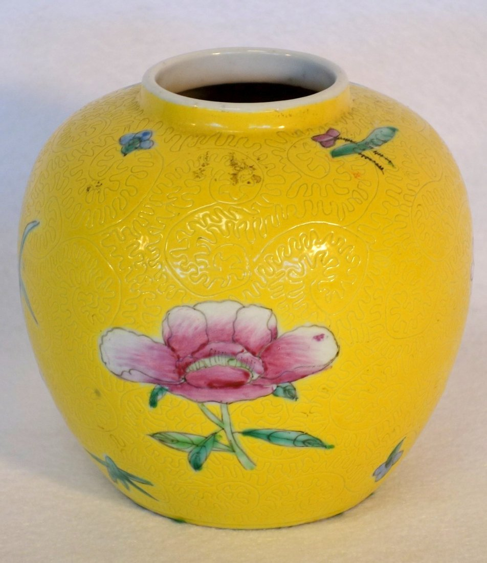 Grouping of 5 pieces of oriental china including yellow - 5