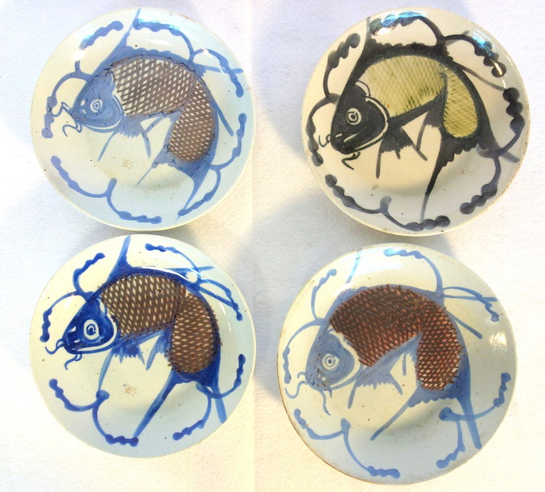 Grouping of 12 early Chinese export fish plates - all - 4