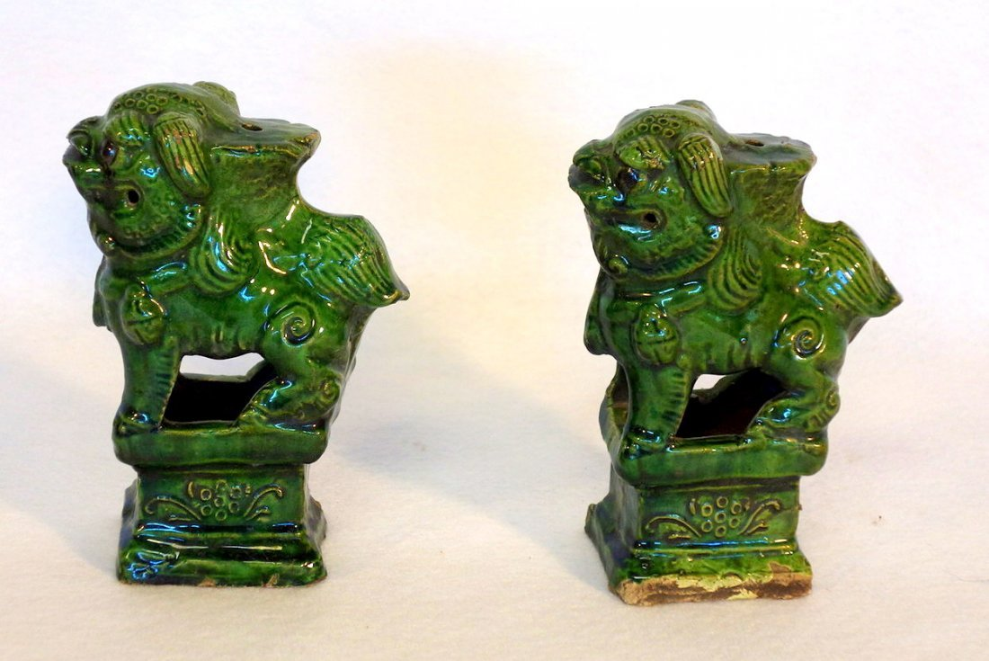 Grouping of 5 oriental objects including pair of green - 3