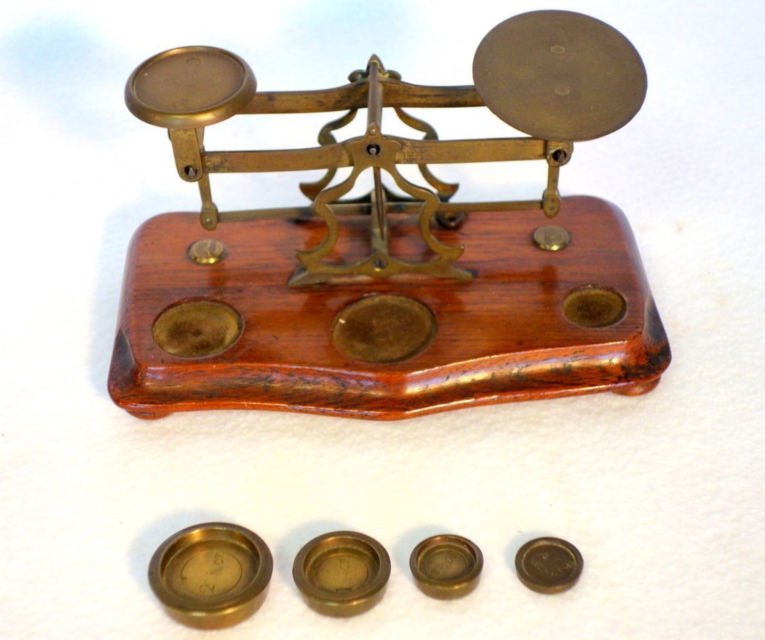 Two balance scales including small brass postage stamp - 2