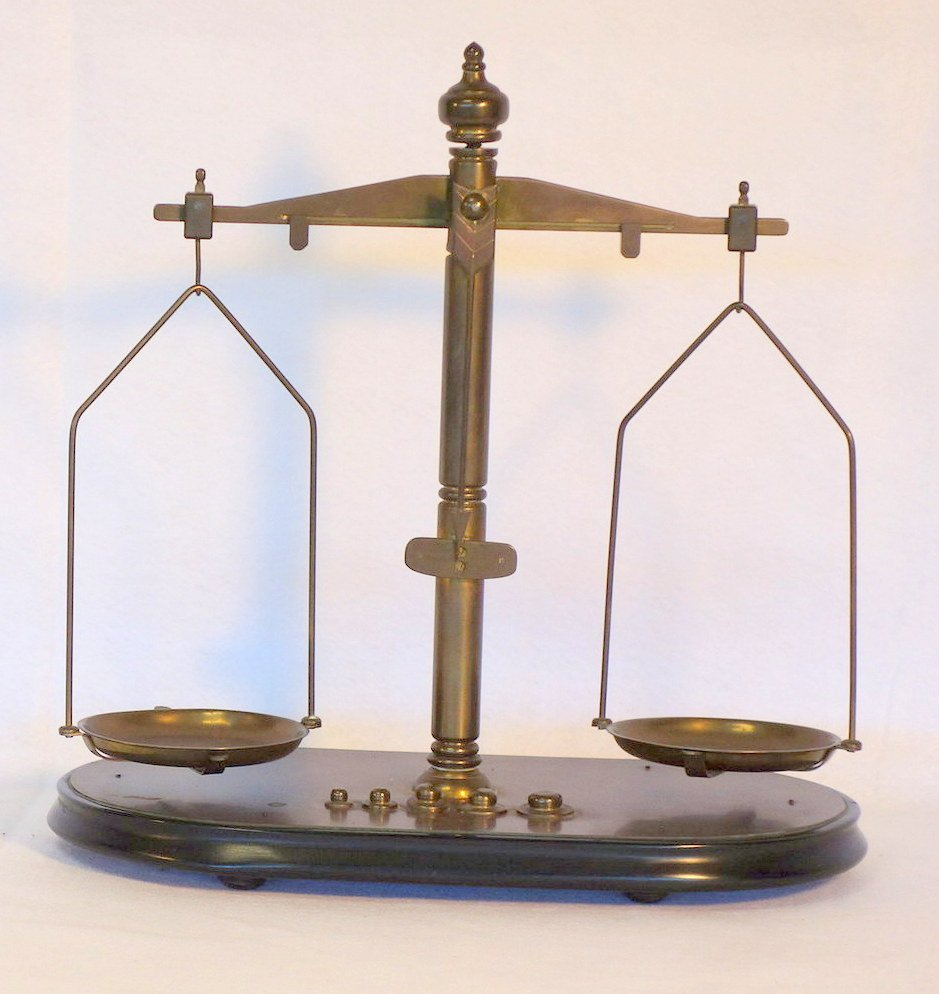 Two balance scales including small brass postage stamp - 3