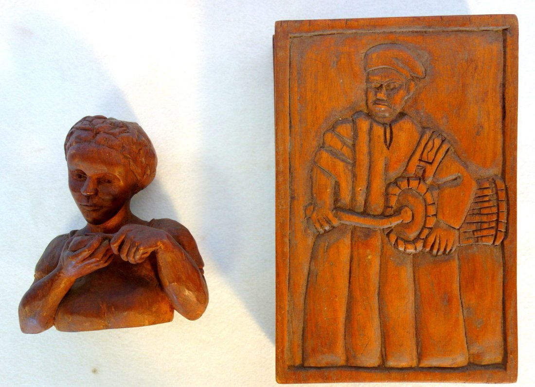 Two carved wooden items including a sculpture of a lady